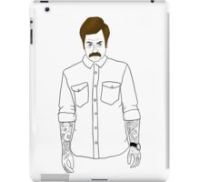 Hipster Ron Swanson (Clear) iPad Case/Skin