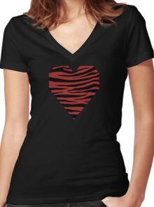 0075 Web Brown Tiger Women's Fitted V-Neck T-Shirt