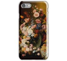 Flowers in a Glass Pitcher with Bird's Nest and Fruit, Severin Roesen iPhone Case/Skin