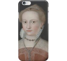 Follower of François Clouet , Portrait of a lady, bust-length, in a jewel-encrusted red dress with a pearl headdress iPhone Case/Skin