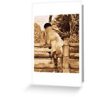 Cowgirl Up, Stock Yards boots and a wet dress. Greeting Card