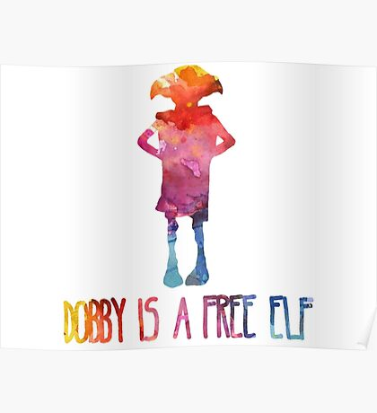 Dobby Is A Free Elf - Colourful Silhouette Poster