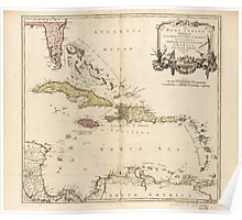 American Revolutionary War Era Maps 1750-1786 957 The West Indies exhibiting the English French Spanish Dutch and Danish settlements with the adjacent parts Poster