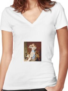Briton Riviere - Girl With Dogs  Women's Fitted V-Neck T-Shirt