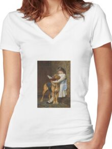 Briton Riviere - Reading Lesson Compulsory Education Women's Fitted V-Neck T-Shirt