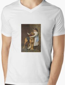 Briton Riviere - Reading Lesson Compulsory Education Mens V-Neck T-Shirt