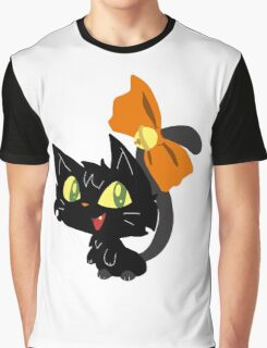 Halloween Black Cat with a Ribbon Graphic T-Shirt
