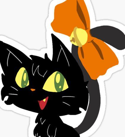 Halloween Black Cat with a Ribbon Sticker