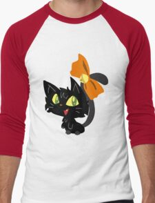Halloween Black Cat with a Ribbon Men's Baseball ¾ T-Shirt
