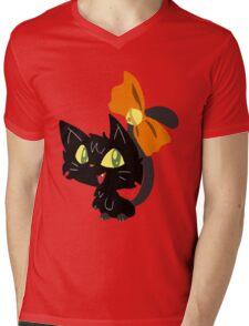 Halloween Black Cat with a Ribbon Mens V-Neck T-Shirt