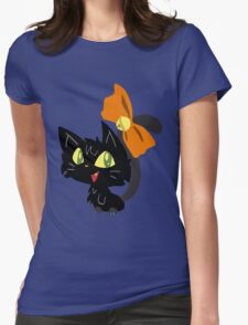 Halloween Black Cat with a Ribbon Womens Fitted T-Shirt