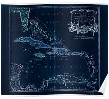 American Revolutionary War Era Maps 1750-1786 959 The West Indies exhibiting the English French Spanish Dutch and Danish settlements with the adjacent parts Inverted Poster