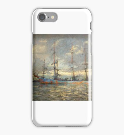 Frank Kelsey - View of Schooners at Anchor in a Cornish Estuary, iPhone Case/Skin