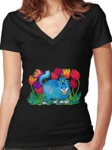 Prussian Blue Women's Fitted V-Neck T-Shirt