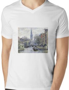 Claude Monet - Canal Amsterdam Mens V-Neck T-Shirt