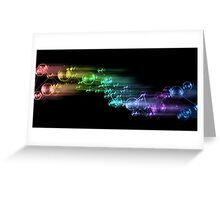 abstract rainbow color bubble design on black Greeting Card