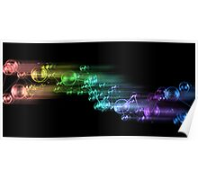 abstract rainbow color bubble design on black Poster