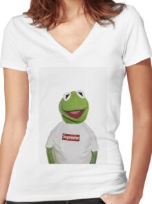 Supreme Kermit the frog Women's Fitted V-Neck T-Shirt