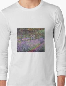 Claude Monet  -The Artists Garden At Giverny  Long Sleeve T-Shirt