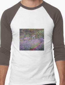 Claude Monet  -The Artists Garden At Giverny  Men's Baseball ¾ T-Shirt