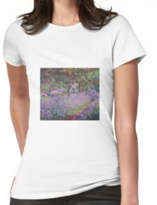 Claude Monet  -The Artists Garden At Giverny  Womens Fitted T-Shirt