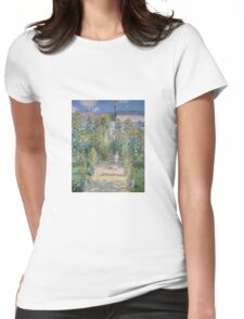 Claude Monet - The Artists Garden at Vetheuil  Womens Fitted T-Shirt
