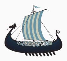 Blue viking ship Kids Tee