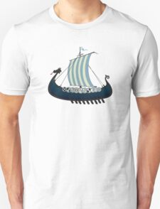 Blue viking ship T-Shirt