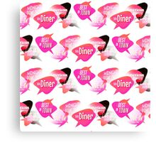 Retro Diner Signs Neon Pink Canvas Print