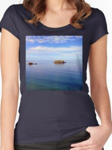Rock and Water Landscape Women's Fitted Scoop T-Shirt