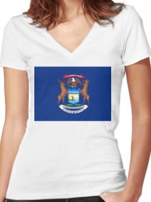 Michigan state flag Women's Fitted V-Neck T-Shirt