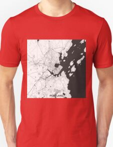 Portland Maine Map Gray Unisex T-Shirt