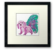 Half cute dog & half squirrel (pink+turquois) Framed Print