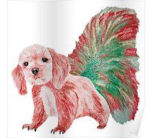 Half cute dog & half squirrel (red+green) Poster
