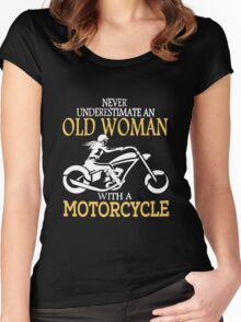 Old Woman With A Motorcycle Women's Fitted Scoop T-Shirt