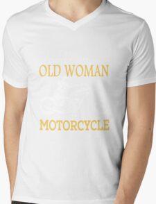 Old Woman With A Motorcycle Mens V-Neck T-Shirt