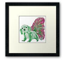 Half cute dog & half squirrel (pink+green) Framed Print