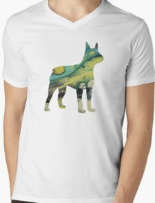 Boston Terrier Mens V-Neck T-Shirt