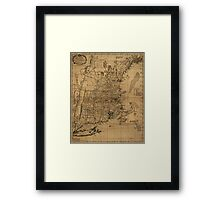 American Revolutionary War Era Maps 1750-1786 099 A map of the most inhabited part of New England containing the provinces of Massachusets Bay and New Framed Print