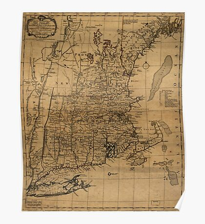 American Revolutionary War Era Maps 1750-1786 099 A map of the most inhabited part of New England containing the provinces of Massachusets Bay and New Poster