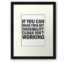 Harry Potter  - Invisibility Cloak Malfunction Framed Print