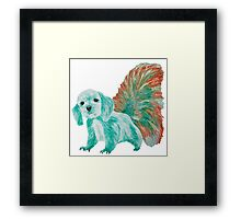 Half cute dog & half squirrel (turpuoise+red) Framed Print