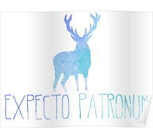 Expecto Patronum Stag - Colourful Blue Silhouette Poster