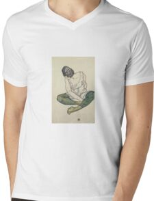 Egon Shiele - Seated Woman With Green Stockings Mens V-Neck T-Shirt