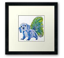 Half cute dog & half squirrel (blue+yellow) Framed Print