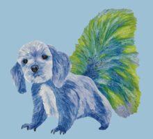 Half cute dog & half squirrel (blue+yellow) Kids Tee