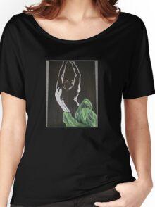 Nude man male dancing shadow black white original art Women's Relaxed Fit T-Shirt