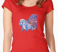 Half cute dog & half squirrel (blue+red) Women's Fitted Scoop T-Shirt
