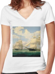 Fitz Henry Lane - The Ships Winged Arrow And Southern Cross In Boston Harbor  Women's Fitted V-Neck T-Shirt