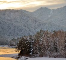 Katun river in the winter at dawn Sticker